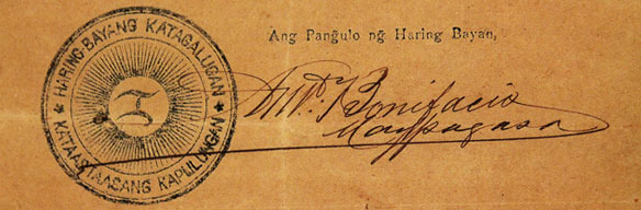 Katipunan seal with Andres Bonifacio's signature