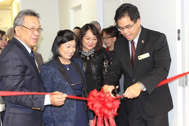 Deputy Consul General Jaime Ramon T. Ascalon leads the ribbon cutting at the Social Hall of the Philippine Center in San Francisco during the Andres Bonifacio Exhibit Launch. Joining him are (left to right) Philippine Folklife Museum President Dan de la Cruz, Operations and Development Chair Lydia de la Cruz and Dr. Soledad Manaay-Hayden.